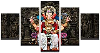 Fenfei 5 Panel Modern Ganesh Elephant Trunk Indian God Hd Print Art Canvas Paintings Wall Pictures for Living Room Decoration 30x45cm-2p 30x60cm-2p 30x75cm-1p No Frame