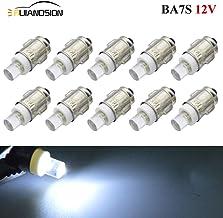 10 bombillas BA7S para salpicadero F3, 1 LED, 12 V CC, 50 lúmenes, luz blanca LED para interior de salpicadero, indicador, panel de instrumentos de luz para lámpara, tierra negativa.