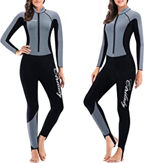 CtriLady Wetsuit Women 1.5mm Neoprene Full Wetsuit Long Sleeve Diving Suits with Front Zipper UV Protection Full Body Swim...