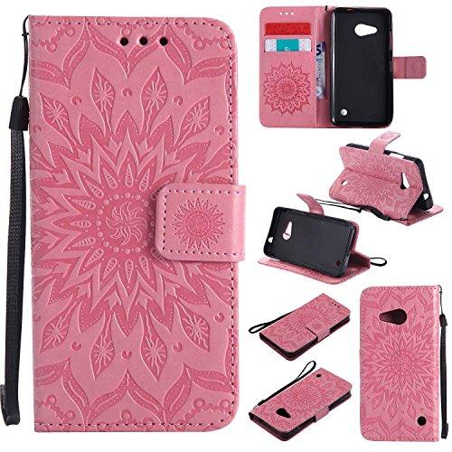 pinlu® PU Leder Tasche Etui Schutzhülle für Microsoft Lumia 550 Lederhülle Schale Flip Cover Tasche mit Standfunktion Sonnenblume Muster Hülle (Rosa)