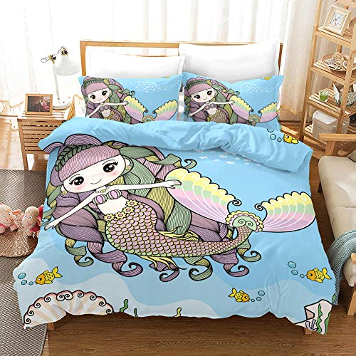 B/A Duvet Cover Set Blue Fabric And Cartoon Mermaid 3 PCS with Zipper Closure Non-Iron Polyester Easy Care Soft Microfiber Bedding Set plus Pillowcases Fade & Stain Resistant 94.48 x 86.61 inch