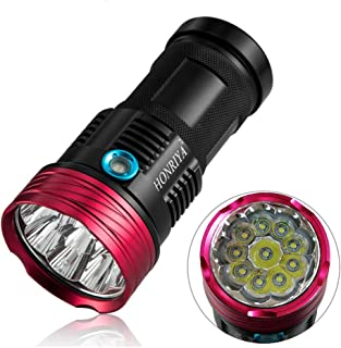 Linterna 10000 lúmenes, HONRIYA 10 CREE XML-T6 Linterna LED portátil, Impermeable, táctica, 3 Modos de luz para Camping y Senderismo (Negro)