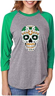 Tstars St. Patrick's Day Irish Sugar Skull 3/4 Women Sleeve Baseball Jersey Shirt