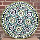 Casa Moro Mediterraner Gartentisch marokkanischer Mosaiktisch Ø 80cm Ankabut Grün rund mit Gestell H 73 cm Kunsthandwerk aus Marrakesch | Dekorativer Balkontisch Bistrotisch Beistelltisch | MT2231