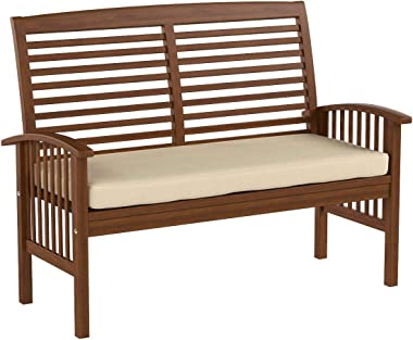 Walker Edison Furniture Company AZWLSDB Wood Outdoor Patio Ladder Back Loveseat Chair with Washable Cushions All Weather Back