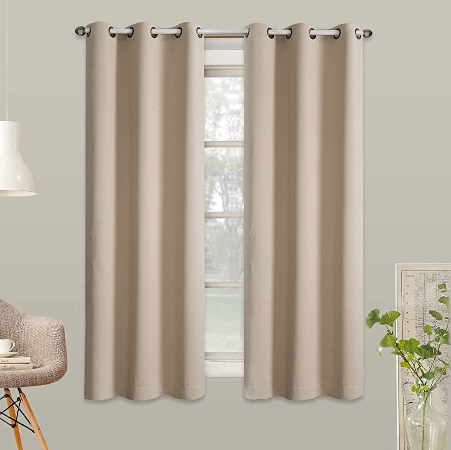 Rose Home Fashion RHF Blackout Thermal Insulated Curtain - Antique Bronze Grommet Top for Bedroom, Curtains for Living Room, Grommet Curtain,35 by 63 Inches 2 Panels: Beige