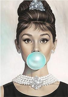Van Eyck Audrey Hepburn Tiffany Blue Bubble Gum Canvas Poster Wall Art for Bedroom Decor Kitchen Decoration Living Home Decorations(20x28 Inches unframed)