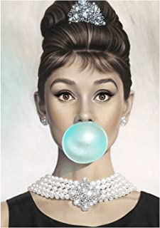 Van Eyck Audrey Hepburn Tiffany Blue Bubble Gum Canvas Poster Wall Art for Guest Bedroom Decor Kitchen Decoration Living Home Decorations(20X28 inch unframed)