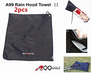 A99 Golf Rain Hood Towel Waterproof Golf Bag Cover Black 2pcs