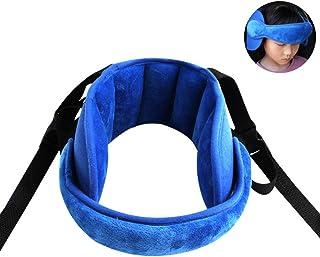 PUBAMALL Seguridad Soporte cinta de la cabeza del bebé, alivio del cuello del asiento de seguridad (Azul)
