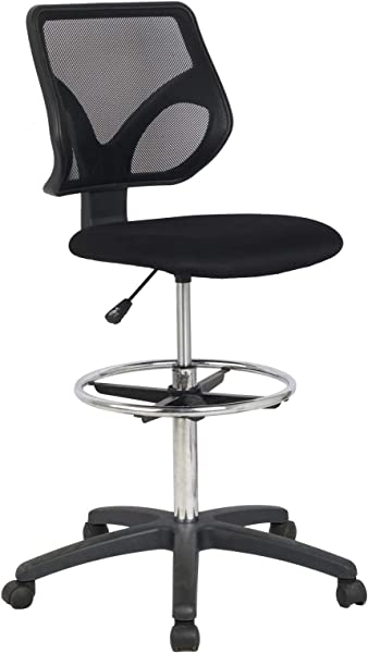 Cool Living Mesh Armless Fixed Upright Adjustable Height Drafting Chair Black