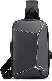 FANDARE Bolsa de Pecho Bolsos Cruzados Hombre Bolsa Deportiva de Hombro Bandoleras Cruzada 9.7 Inch iPad con USB Bolsa de ...
