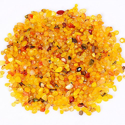 OCN-HEALING 200g Crystal Tumbled Polished Natural Agate Gravel Stones for Plants and Crafts - Small Size - 7mm to 9mm Avg (Yellow Agate)