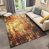 alfombras de habitacion grande Naranja Alfombra de estilo retro naranja abstracto alfombra duradera de patrón antiguo fácil de limpiar cuadro decoracion habitacion 180X230CM dormitorios matrimonio 5f