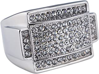 18K White Gold/Gold-Plated Iced Rectangular Pinky Ring - Stainless Steel