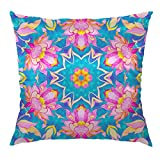 """Moslion Bohemian Pillow Home Decorative Bohemian Throw Pillow Cover Satin Square Cushion Cover Standard Pillow Cases for Mens Women Girls Boys Sofa Bedroom Livingroom 18""""x18"""",Teal and Plum"""