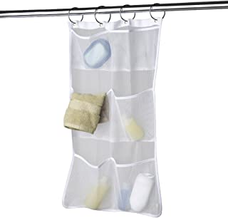 MAYTEX Quick Dry Mesh Pockets Fabric Bath/Shower Caddy Organizer with Pockets, White, 26 inches x 17 inches
