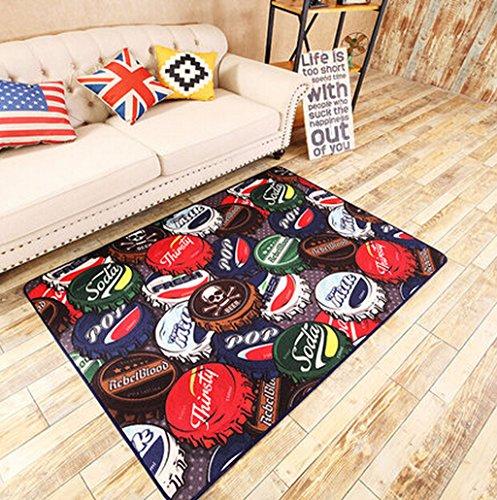 YYF tapis Bouchon de bouteille Tapis de tapis de la maison Tapis antidérapant Chambre/salon Carpet Tapis de cravate de bébé Tapis de jeu noir (taille: 120 x 170 cm)