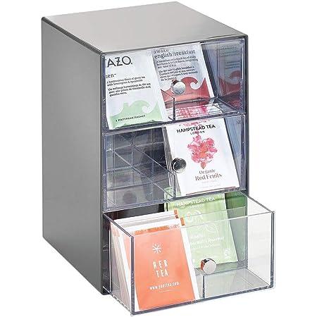 mDesign boite de rangement cuisine en plastique avec 3 tiroirs – casier de rangement pour sachets de thé, tisane, dosette café, etc. – boite à thé à 18 compartiments – gris foncé et transparent