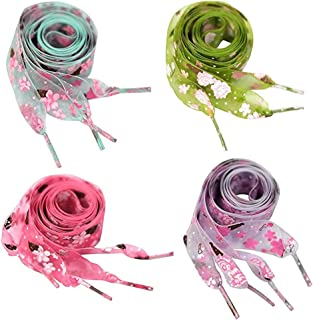 4 Pairs Flat Chiffon Shoelaces with Flower Prints for Kids, Youths & Women's Sneakers,120cm /47 inch