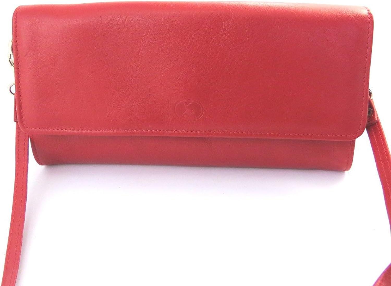 Leather pouch bag 'Frandi'rot (2 falten). B0112YTY9U