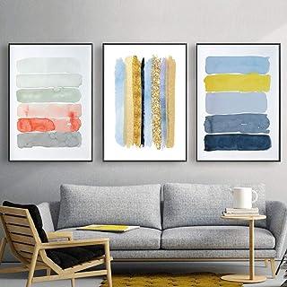 Obra Contemporánea Azul y Oro Arte de la Lona Cartel Abstracto Pintura al Pastel Calmante Paisaje Imágenes Para la Sala de estar Decoración Sin Marco
