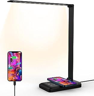 Lampa biurkowa LED, lampa biurkowa z bezprzewodowym ładowaniem, lampa biurkowa ze sterowaniem dotykowym, 10 poziomów jasno...