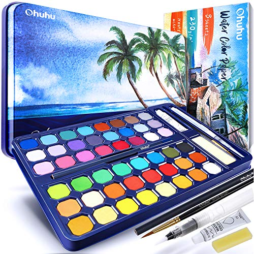 Watercolor Paint Set 48 Colors with Watercolor Paper, Ohuhu High Pigment Fundamental Watercolor Pan Watercolor Pallet with Water Brush Pen for Artists, Beginner, Student Father's Day