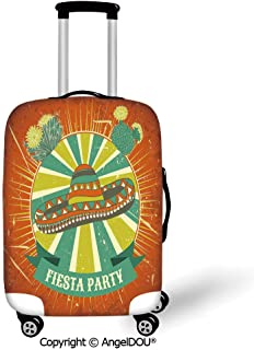 AngelDOU Durable Elastic Suitcase Luggage Protective Cover Fiesta Latin America Culture Inspired Ethnic Sombrero and Cactuses Worn Decorative Orange Seafoam Yellow Green Trolley Dust Rain Bags Accesso