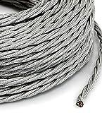 Cable eléctrico entelado estilo vintage, revestido en tela trenzada de color plateado, sección de 3 x 0,75, para lámparas de techo, lámparas de pie, lámparas de mesaProducto fabricado en Italia.