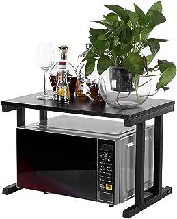 2 Tier Kitchen Baker's Rack Utility Storage Shelf, Wood Microwave Oven Stand Rack Kitchen Cabinet Counter Shelf, 22.44L14.96W14.96H (Black)