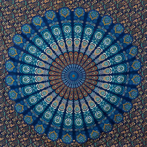momomus Tapiz de Mandala - Hecho a Mano con Algodón 100% y Tintes Vegetales Naturales - Adornos de Arte para Pared de Hogar, Pareo/Toalla de Playa Grande, Sofá - 210x230cm Aprox