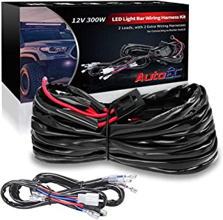 AutoEC 12V LED Light Bar Wiring Harness Kit, 2 Leads 16AWG 300W Wiring Harness Brighten LED Work Lights fit 3 or 5 Pins ON...