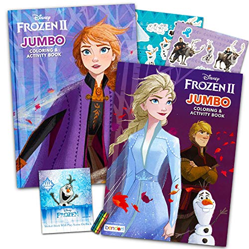 Disney Frozen 2 Coloring Book Set With Over 100 Stickers (Bundle Includes 2 Frozen Coloring Books)