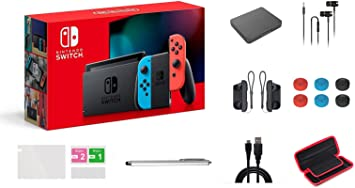 Nintendo Switch Console Video Games Neon Blue and Red Joy-Con, 32GB Internal Storage, 6.2