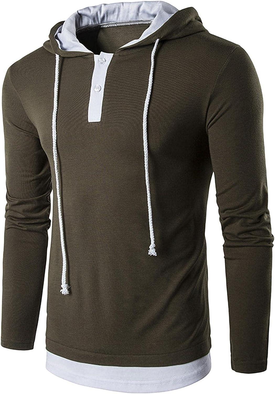 Hoodies for Men Men's Casual Long Sleeve Pullover Hoodie Drawstring Pullover Collarless Shirt Fashion Hoodies And Sweatshirt