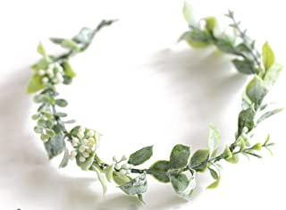 FIDDY898 Artificial Floral Crown Green Flower Crown Floral Bridal Head Piece for Photo Prop