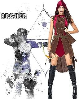 JJAIR Huntress Adult Costume, Women's Forest Princess Adult Costume Little Red Riding Huntress Costume,L