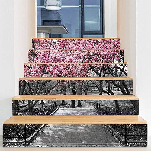Pegatinas de escalera DIY autoadhesivas impermeables extraíbles para gabinetes de cocina, escaleras, baño, cocina, decoración del hogar (100 x 18 cm x 6 piezas) hermoso paisaje