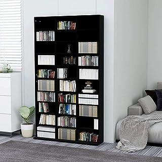 vidaXL Armoire à CD Bibliothèque Etagère de Rangement Etagère à DVD Livres avec 30 Compartiments Bureau Noir 102x23x177,5 ...