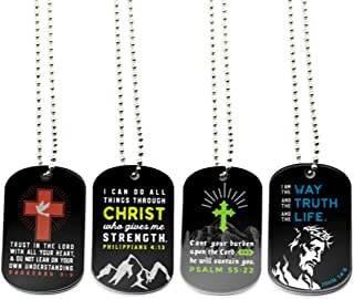 (12-Pack) Faith Dog Tag Necklaces with Bible Verses - Philippians 4:13, Proverbs 3:5, Psalm 55:22, John 14:6 - Wholesale Bulk Religious Party Favors and Christian Bible Gifts for Boys Girls Men Women