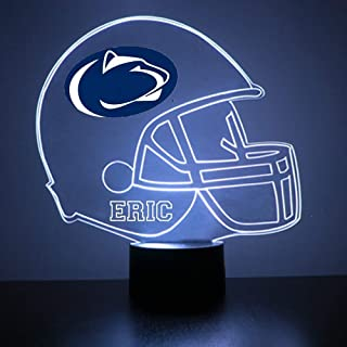 Mirror Magic Penn State Nittany Lions Light Up LED Lamp - Football Helmet Night Light for Bedroom with Free Personalization - Features Licensed Decal and Remote