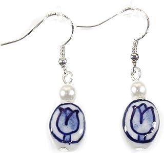 """Blue Delft"" Dutch Tulip Porcelain Earrings, 1.5 Inches"