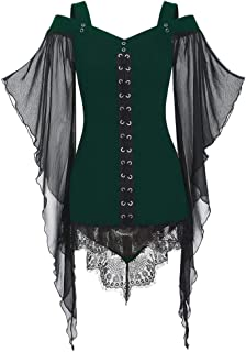 Women Sexy Sweetheart Neck Criss Cross Lace Panel Cold Shoulder T-Shirt
