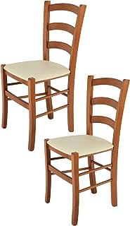 Tommychairs - Set 2 sillas Venice para Cocina y Comedor, Estructura en Madera de Haya Color Cerezo y Asiento tapizado en Polipiel Color Marfil