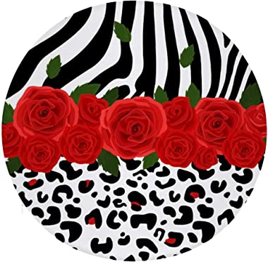 NAWING Zebra Rose Floor Pillow Cushions Anti-Slip Polyester Lightweight Adult a Great Present Seating Throw Cover for Office