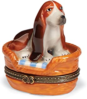 Basset Hound Trinket Box - Small Porcelain Hinged Treasure Box