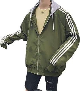 [ヒロハン] ウィンドブレーカー パーカー サイド 3ライン ジャケット アウター カジュアル フード付き 男女兼用