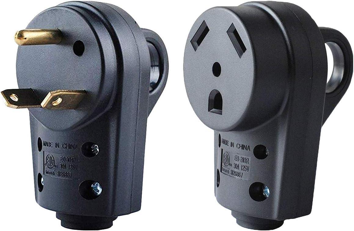 Wadoy 30 Amp RV Plug Male and Female Plug Set Upgraded with Handle Receptacle Plug Electrical Plug Adapter 55245