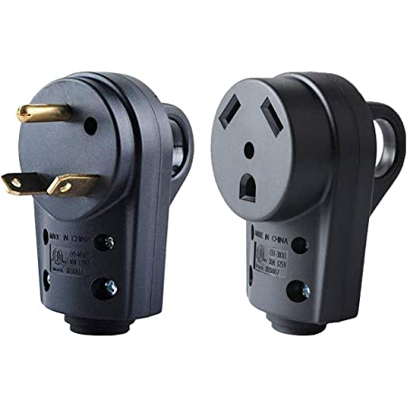 RV Male Plug RV 30 AMP Receptacle Electrical Female Plug Adapter With Easy Grip
